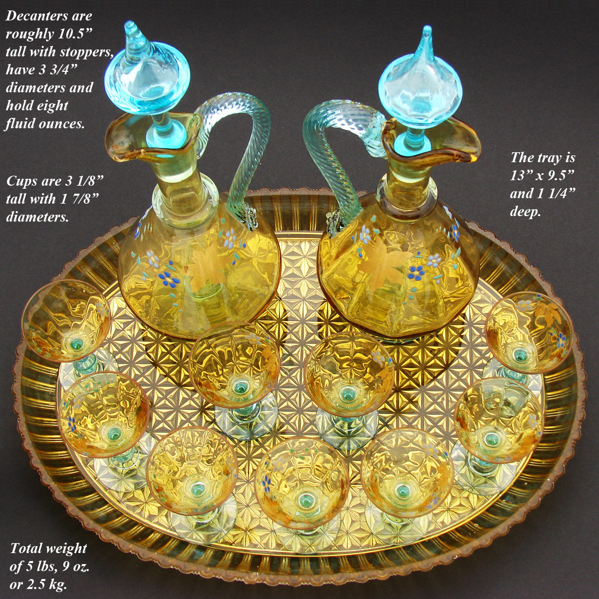 Antique French Liqueur Aperitif Decanter PAIR, Cordial Stems & Tray, Likely George Sand