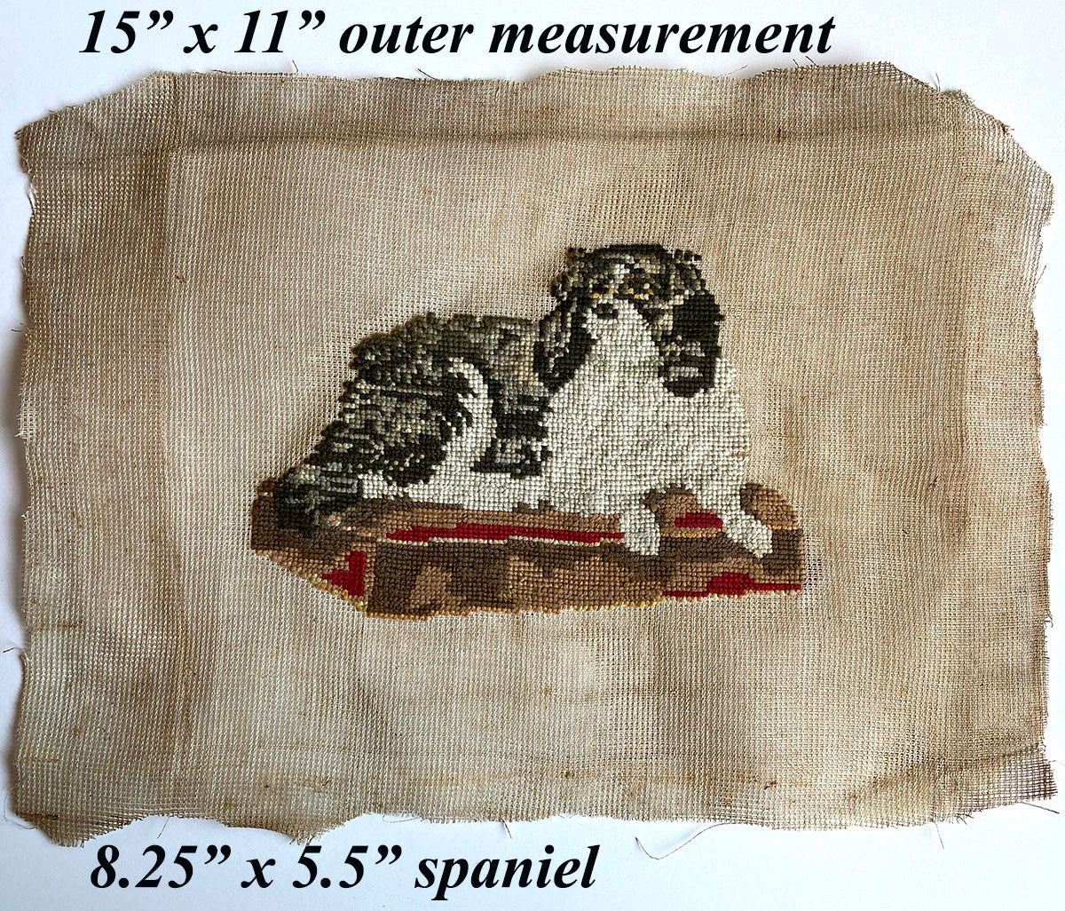Antique Victorian Needlepoint, Dash, Dog, Spaniel of Queen Victoria c,1842-42