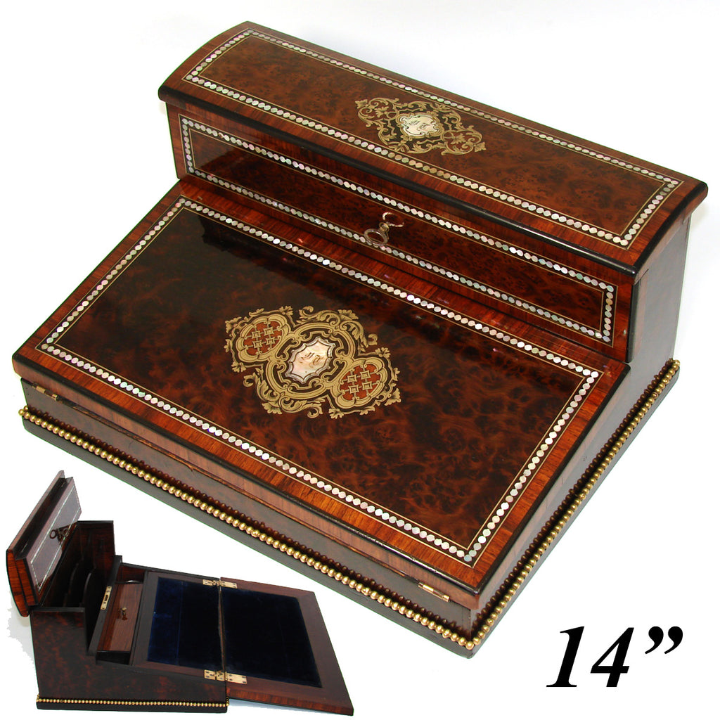 "Exq! Antique French Napoleon III Era 12.5"" Writer's Chest, Box, Lap Desk or Ecritoire, Boulle"