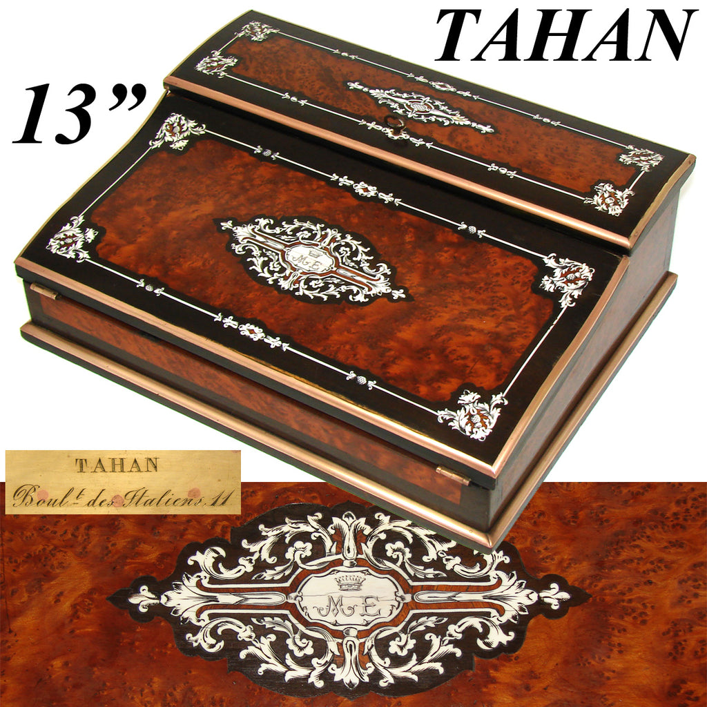 Magnificent Antique French TAHAN Marked Ecritoire, Lap Desk or Writer's Box, Crown Top Monogram, Boulle