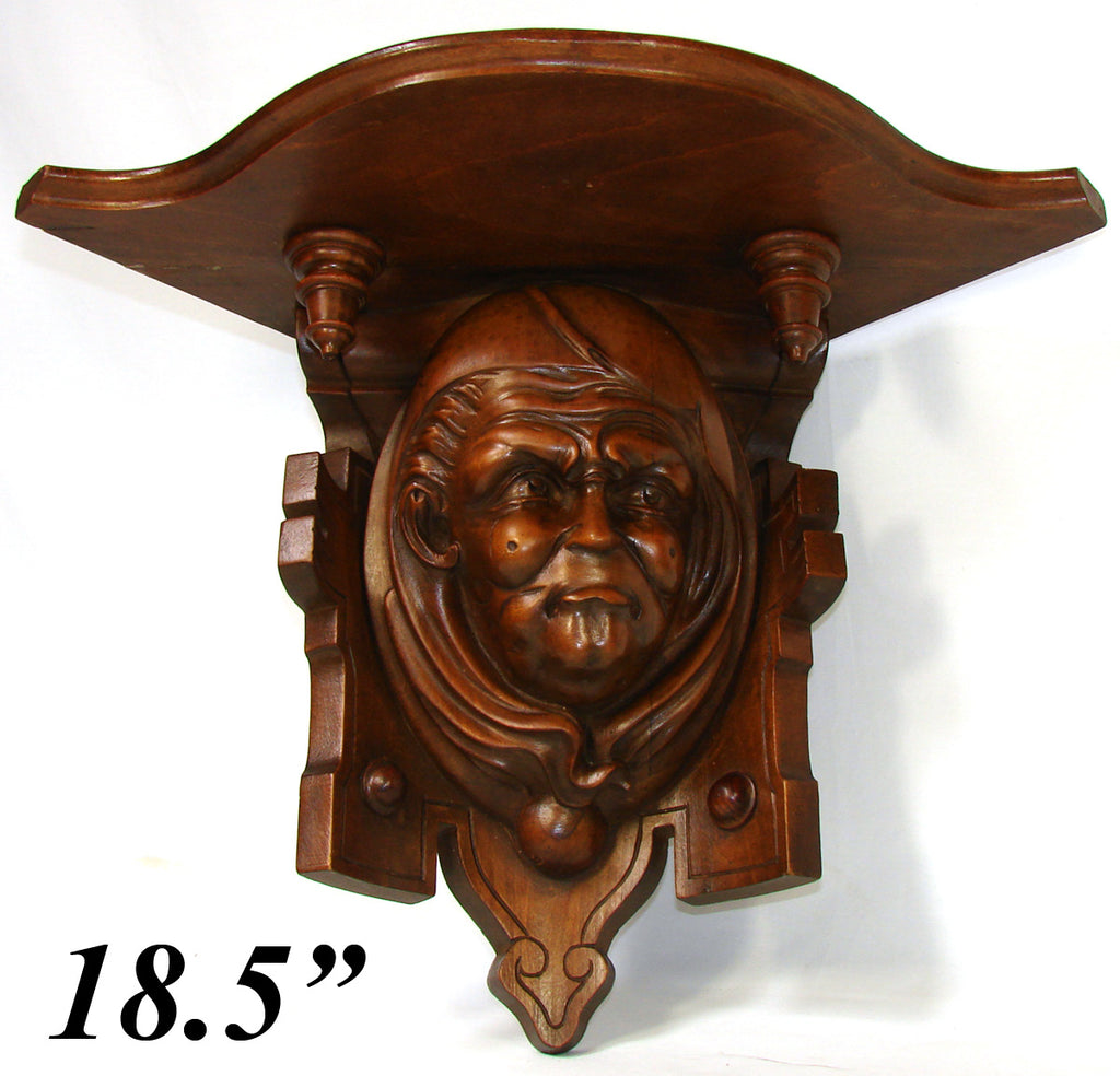 "Fab Antique French Victorian Carved 18.5"" Wall or Bracket Shelf, Hooded Monk Figure"