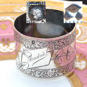 "Antique French Sterling Silver Napkin Ring, Floral Decoration, ""Andree"" Inscription"
