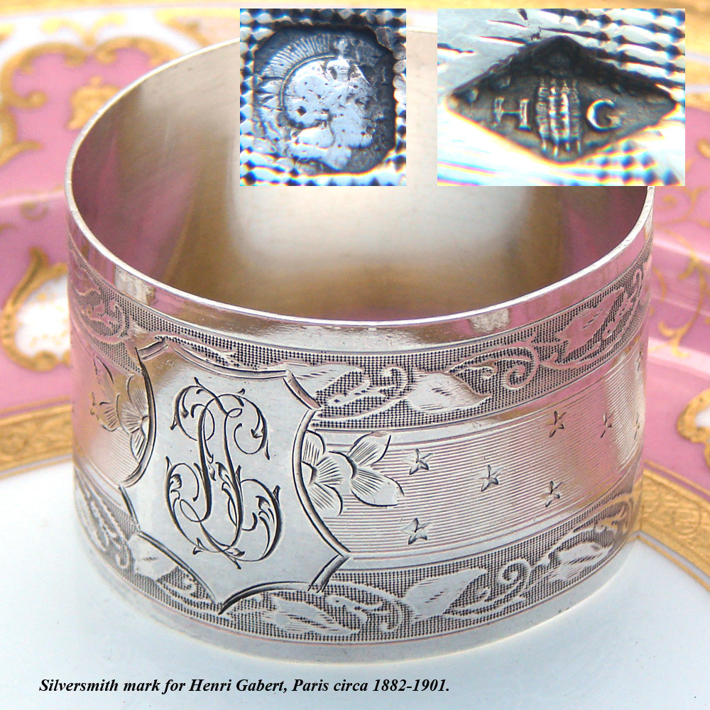 "Antique French Sterling Silver 2"" Napkin Ring, Ornate Foliate Pattern, ""LL"" Monogram"