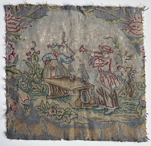 Pair Antique Silk Embroidery Tapestry Panels, Ready for Making Pillows - Late 1700s to Early 1800s