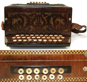 Antique Paolo Soprani Italian Diatonic Button Accordion, Marquetry & Mother of Pearl