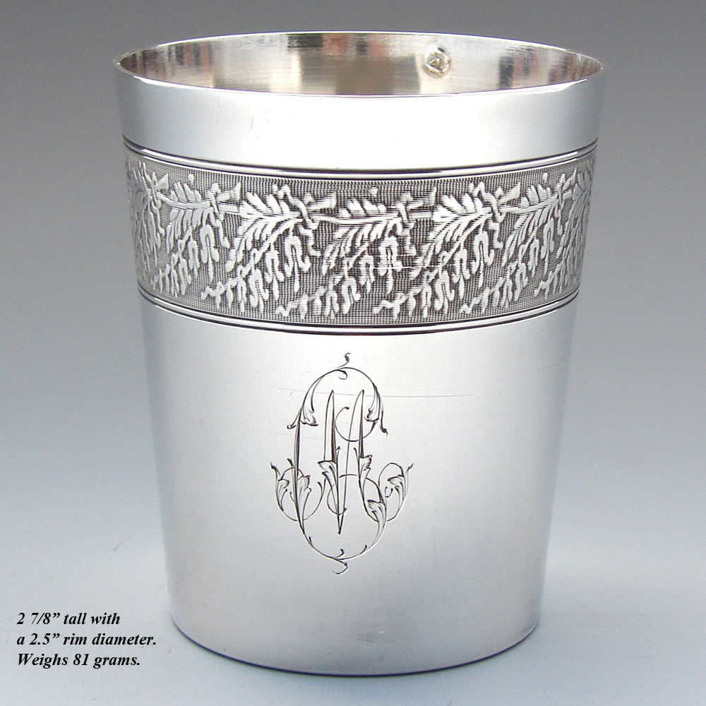 Elegant Antique French Sterling Silver Wine or Mint Julep Cup, Tumbler or Timbale