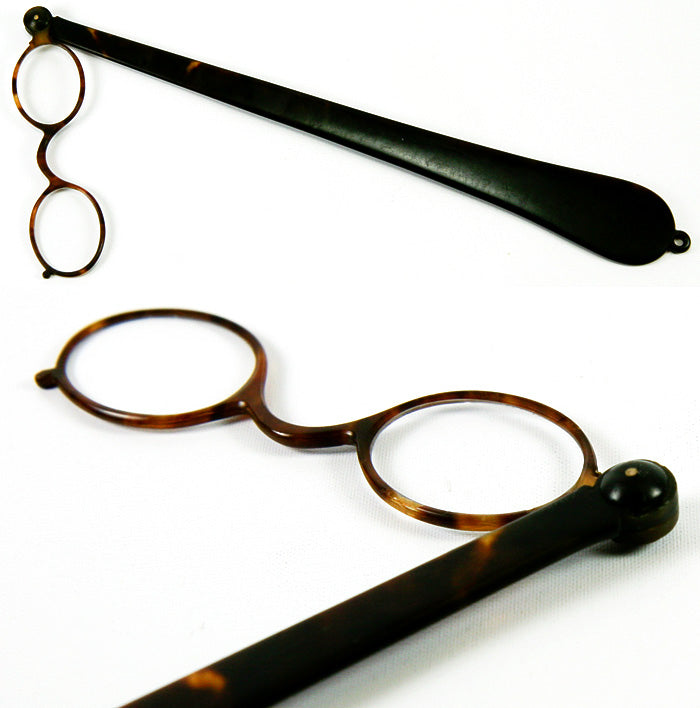 Antique Tortoise Shell Long Handled Lorgnette, Opera Glasses - Tortoiseshell