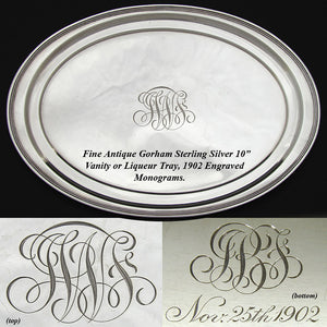 Antique Gorham Serving Tray, Bar or Vanity Tray, Dated 1902 w Monogram 10 1/8""