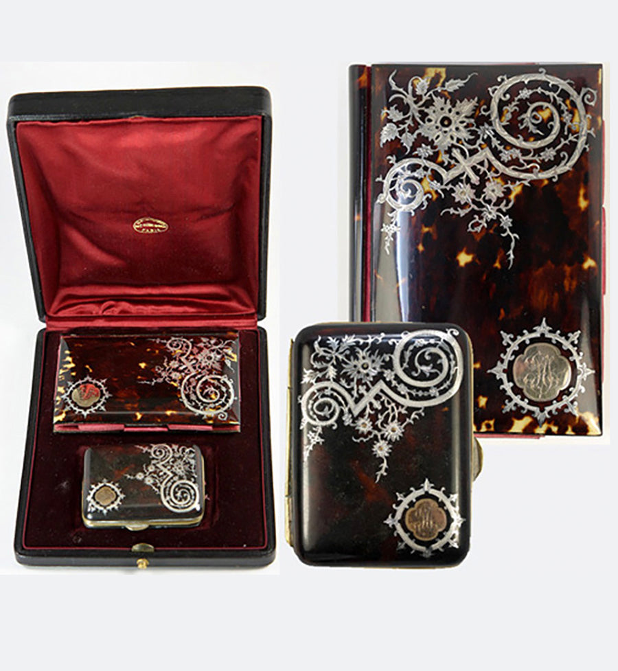 Superb Antique French Etui, Set of 2: Tortoise Shell Pique Aide d' Memoire and Coin Purse