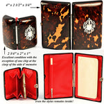 Boxed set: 2 Piece Set: Antique French Tortoise Shell Necessaire & Coin Purse, Opulent and Elaborately Worked in Pique