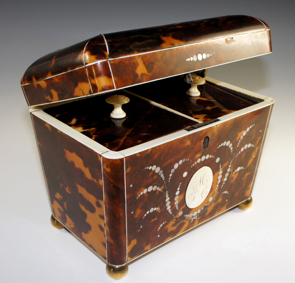 Magnificent Antique Tortoise Shell Inlay Tea Caddy, Double Well - English Victorian Tortoiseshell