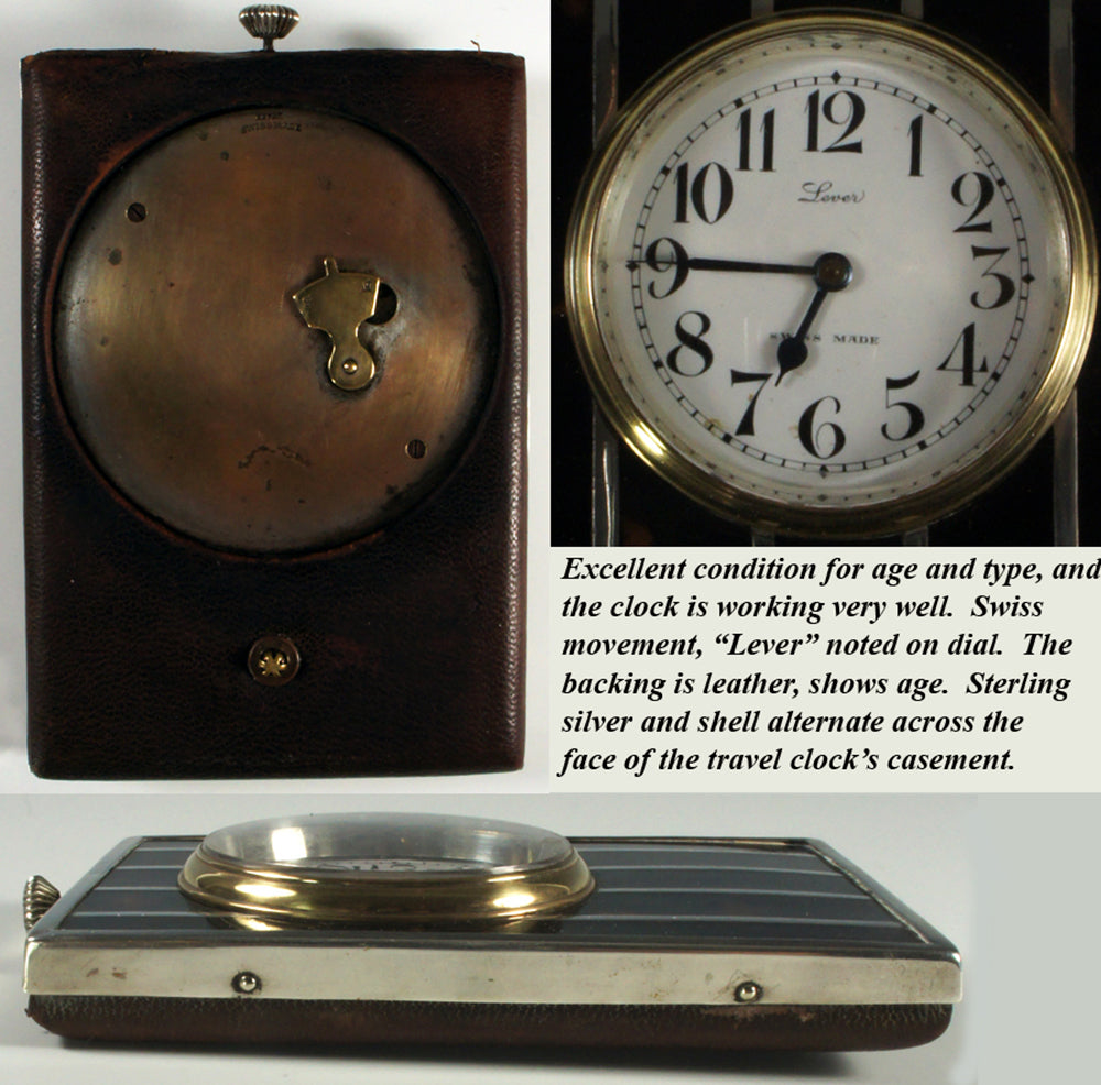 Fine c.1904 English Sterling & Tortoise Shell Travel Clock, Watch - Swiss - Running and keeping excellent time