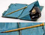Superb Antique French Tortoise Shell Card Case, Necessaire & Coin Purse in Original Presentation Case - Gold Pen