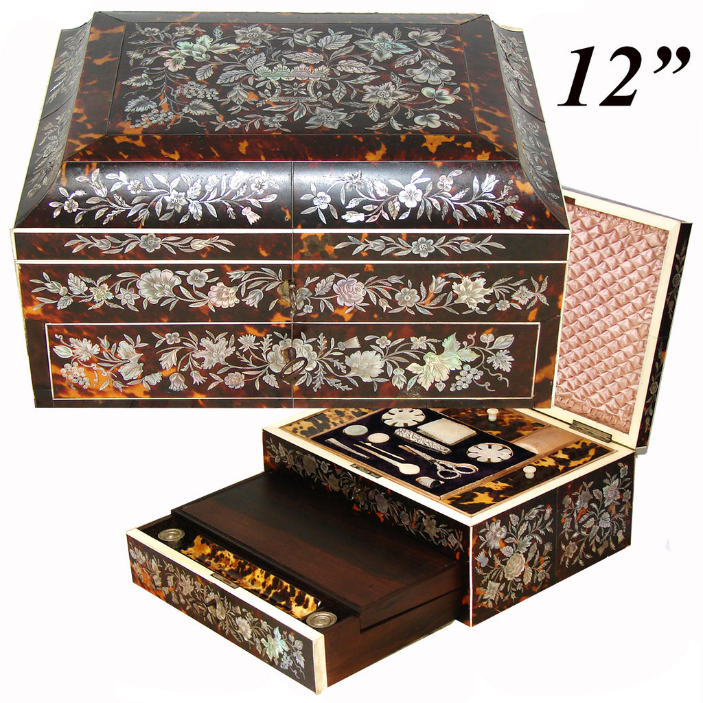 "RAREST Museum Victorian 12"" Sewing Box and Writer's Slope, Tortoiseshell Tortoise Shell, Inlaid with Mother of Pearl - Complete!"
