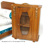 Antique French 5pc Bru Doll Sized Furniture Set, Bed & Armoire, Pillows