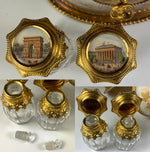 "RARE Antique French Opaline Grand Tour Souvenir Scent Caddy, 5.5"", 2 Perfume Bottles, Stunning! Palais Royal"