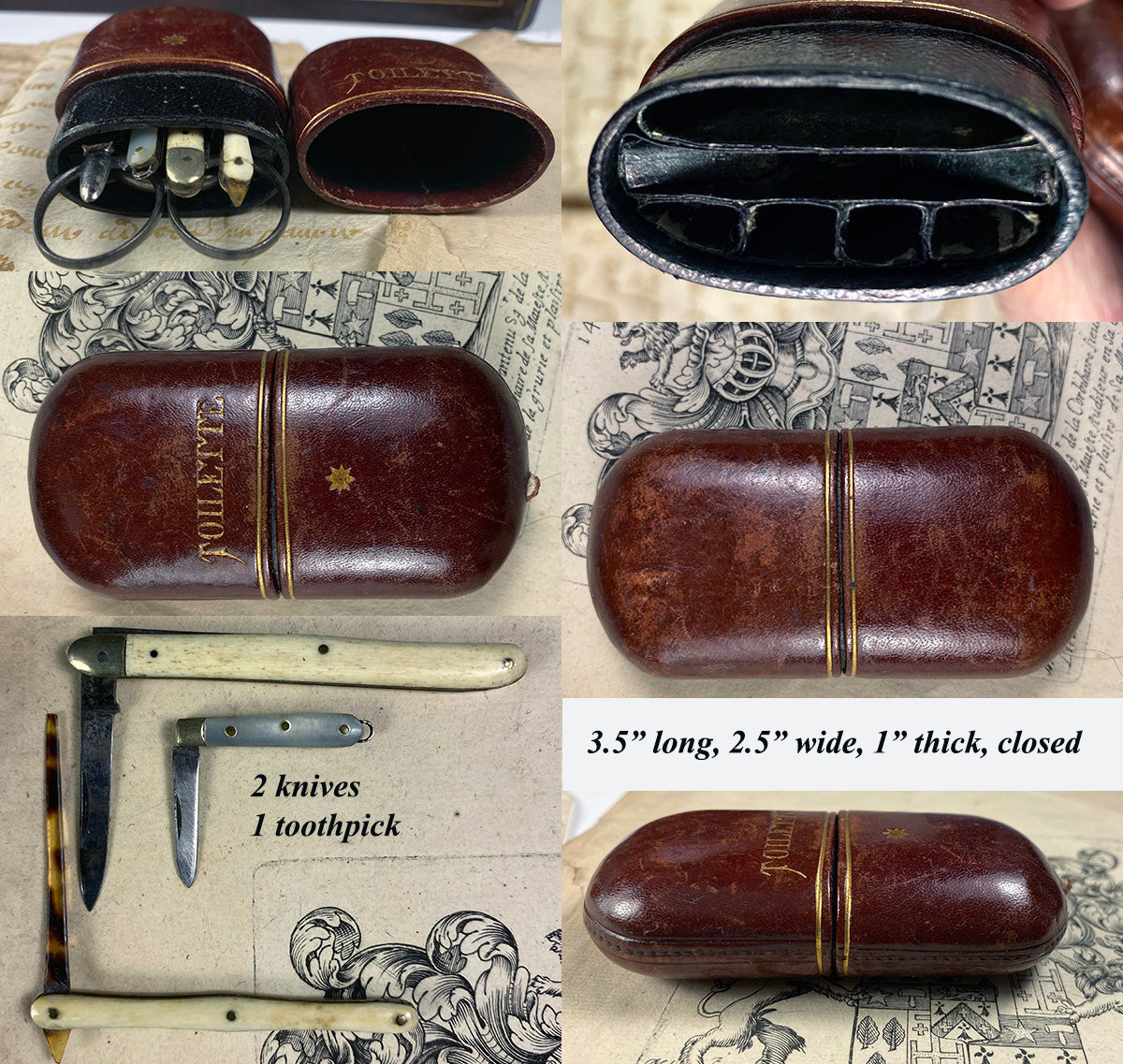 "Antique 19th C. Napoleon III Nécessaire, ""Toilette"" Etui, Case with Scissors, 6 Implements Inside"