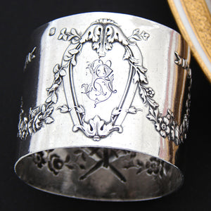 "Antique French Sterling Silver Napkin Ring, Empire Style Floral Garland ""RT"" Monogram"