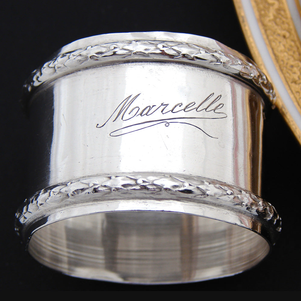 "Antique French Sterling Silver 2"" Napkin Ring, ""Marcelle"" Inscription, Laurel Bands"