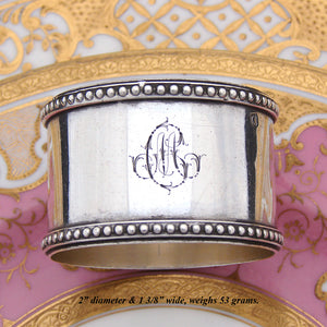 "Antique French Sterling Silver 2"" Napkin Ring, Bead Festooned, ""CM"" Monogram"