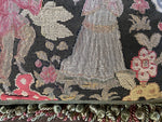 2 Antique French Needlepoint Panel & Lush Fringe Decorator Throw Pillows, Large Pair