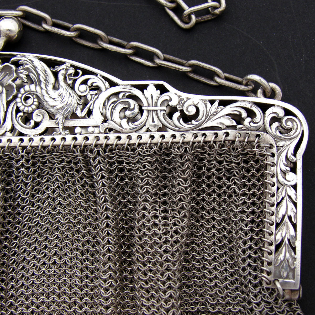 Rare Antique French 800 (nearly sterling) Silver Purse, Hand Bad, Griffin Figures