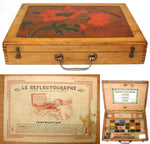 Fab Antique French Bourgeois Aine Painter's Box, Watercolor Set, Art Nouveau