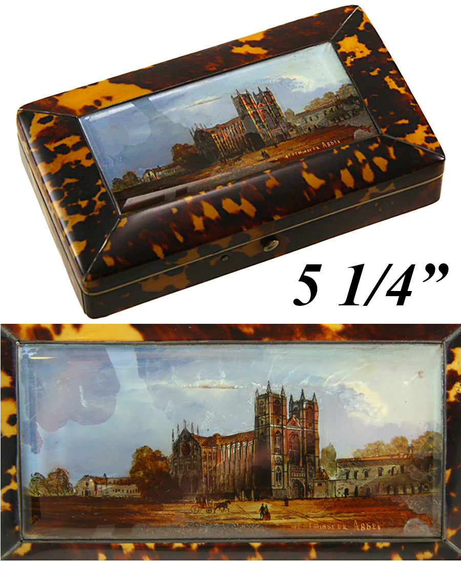 RARE Antique Grand Tour Eglomise Jewelry Box, Casket, Tortoise Shell, Westminster Abbey - Tortoiseshell
