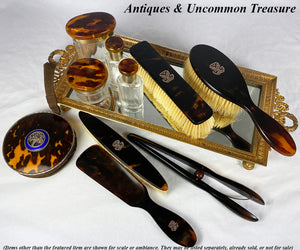 Opulent Antique French Tortoise Shell Vanity Set, 18K Gold Cartouche - Tortoiseshell