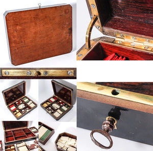 Antique Napoleon III French Gambling Box or Game Chest, 100s of Chips, Game Counters