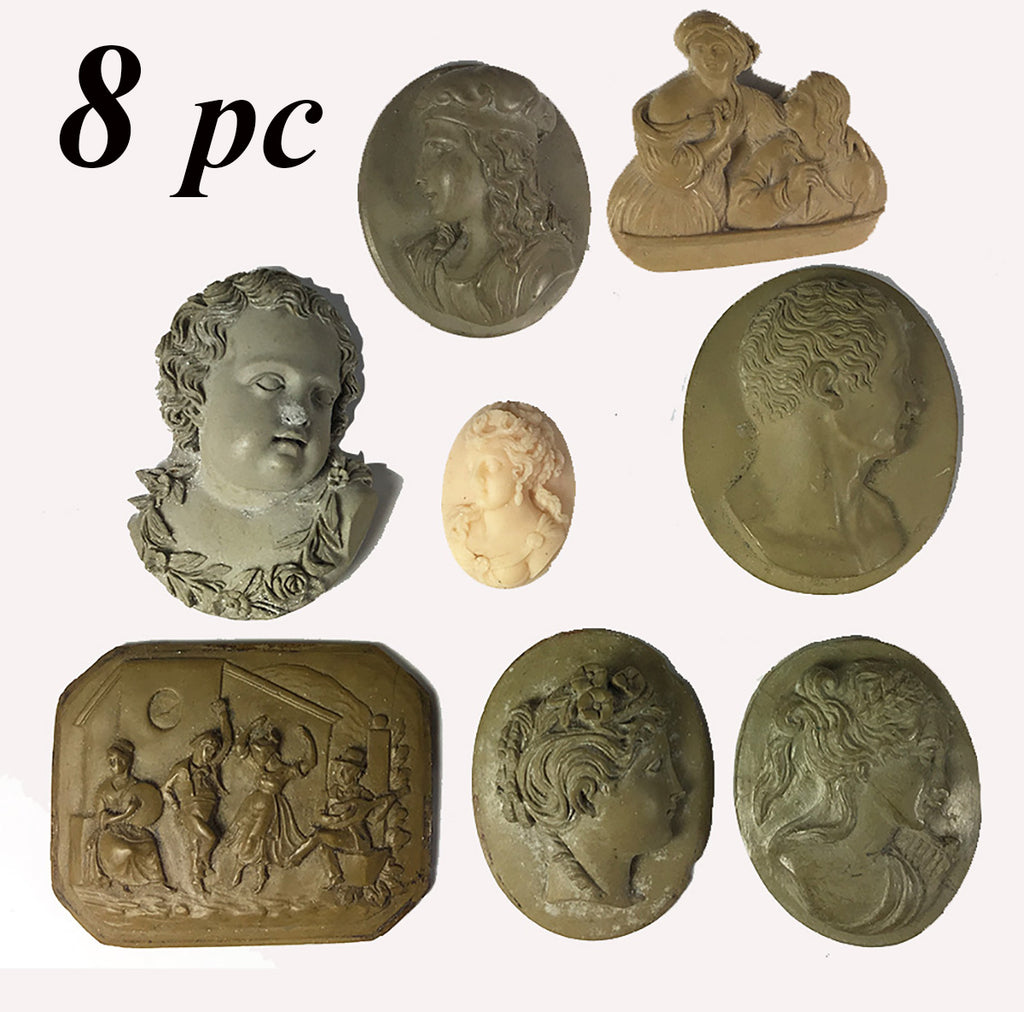 RARE! Jeweler's Set of 8 Superb Unmounted 19th Century Italy Grand Tour Lava Cameo