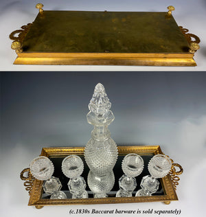 "Antique French Baccarat Dore Bronze Mirror Vanity or Perfume Tray, Liqueur Plateau, 12.75"" Long"