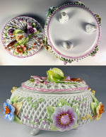 "Antique Unsigned Elaborate 6.5"" BonBon or Powder Jar, Porcelain Flowers & Fruit"