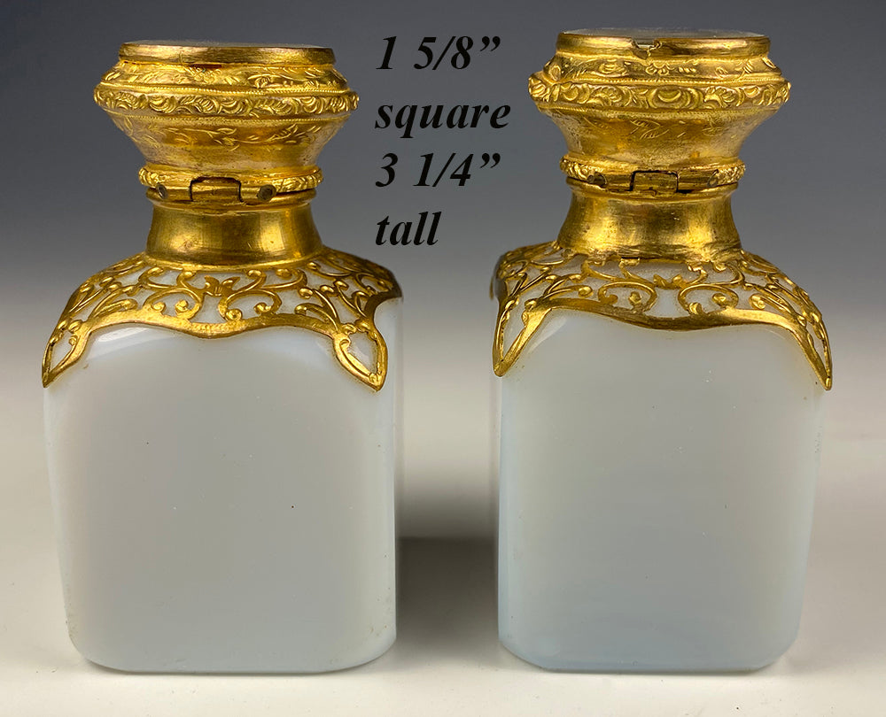 "Antique French Opaline 3"" Tall Scent Bottle Pair, Grand Tour Eglomise Scenes of Paris, Perfume"