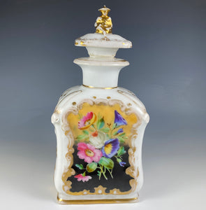 Antique Old Paris Porcelain, Unattributed, Scent, Decanter or Tea Caddy, Figural Top