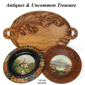 "Fab Antique Edwardian Black Forest Style Carved Wood 20.5"" Serving Tray, Floral with Horseshoe Handles"