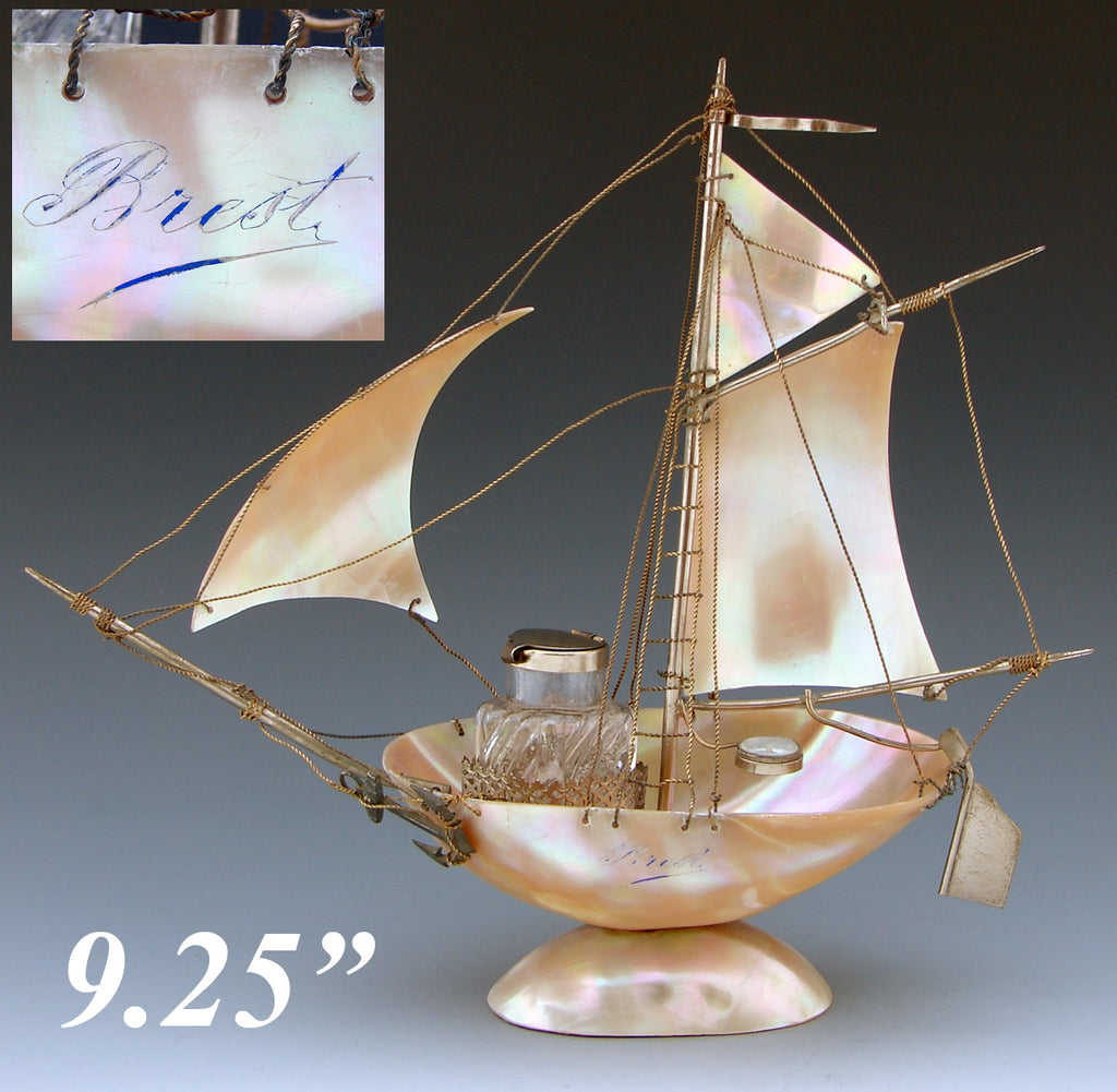 "Antique 9.25"" Mother of Pearl Shell Sail Boat Inkwell, Anchor & Compass: Souvenir of Brest, France"