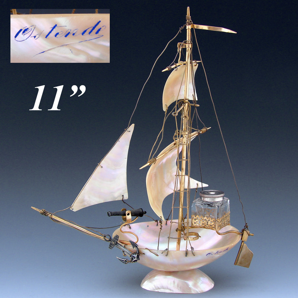 "Antique 11"" Mother of Pearl Shell Sail Boat Inkwell, Anchor & Canon: Souvenir of Ostende, France"
