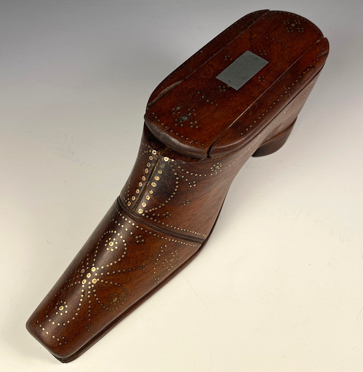 "Antique c.1700s French Boot or Shoe Snuff Box, Large Pique Table Snuff is 6.75"" Long"