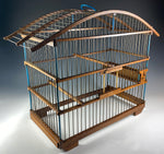 "Antique French Birdcage, Wood and Wire, 15"" Tall and Wide, Charming!"