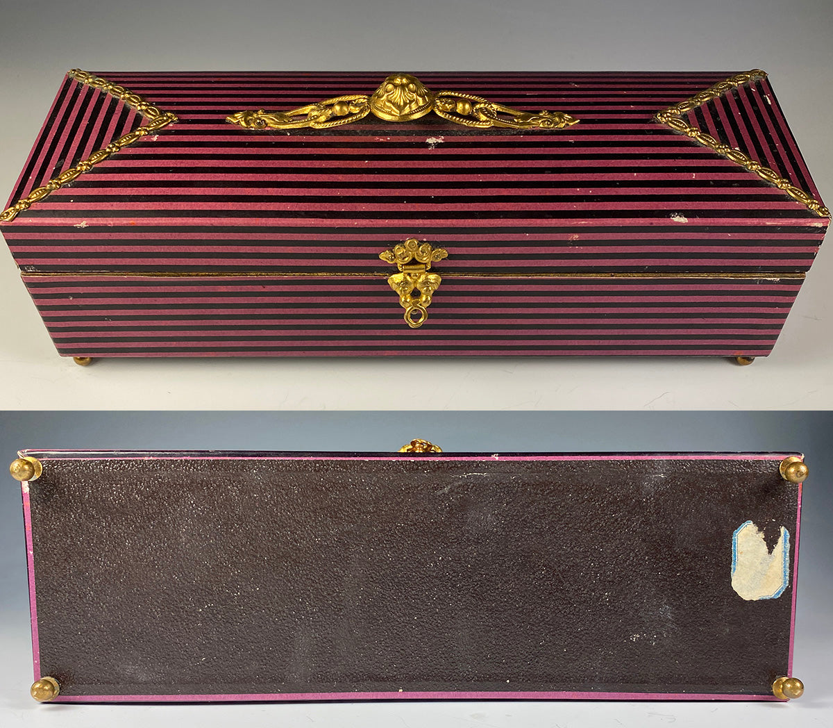 Antique French Chocolatier or Confectioner's Presentation Box, Ormolu and Paper, Card