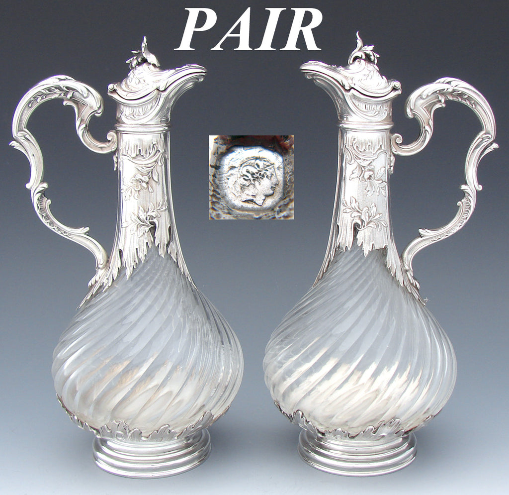 Rare Antique French Sterling Silver Solitaire Size Claret Jug PAIR, Louis XVI or Rococo