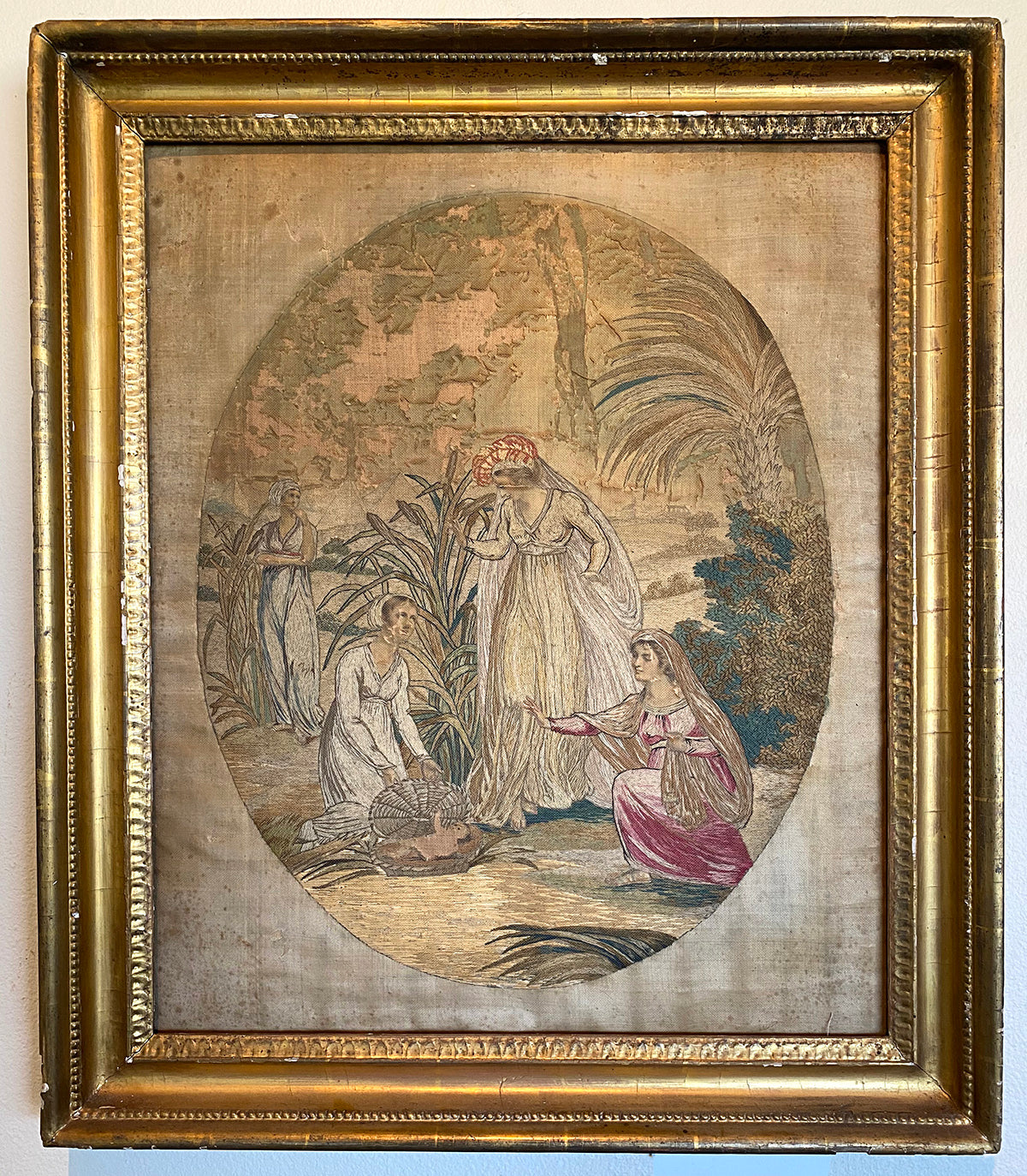 "Antique French Silk Embroidery in c.1820 Frame, 28"" x 24"" Silk work: Baby Moses in the Bulrushes, River Nile"