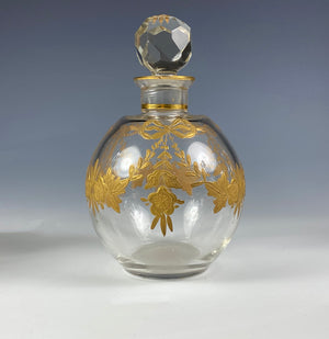 Antique French Baccarat Scent Bottle w Raised Gold Enamel Flower Basket & Bow, Garland, Louis XV Motif