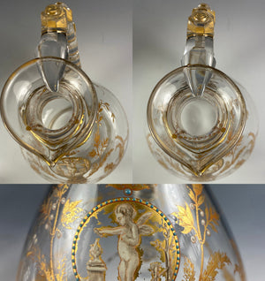 Antique French Carafe, Carafon, Decanter, Raised Enamel, Gold Chimera, Sphynx,
