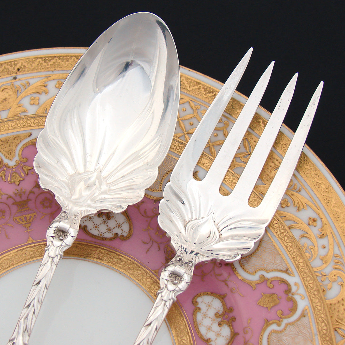 "Stunning Antique c.1902-24 Whiting Lily Pattern Sterling Silver 11.5"" Salad Serving Implement Pair, Art Nouveau"