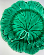 "Set of 7 Antique Victorian Wedgwood Majolica Green Cabbage Leaf 8"" Salad or Cabinet Plates"