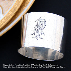 "Elegant Antique French Sterling Silver 2"" Napkin Ring, Gothic Style ""MP"" Monogram"
