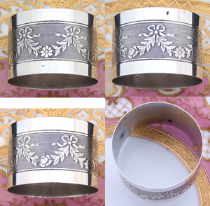 Antique French 800 (nearly sterling) Silver Napkin Ring: Bow, Ribbon & Floral Garland
