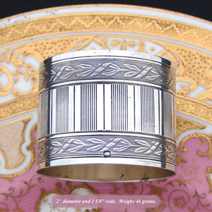 Lovely Antique French Sterling Silver Napkin Ring, Frieze Style Laurel Bands, 46gm